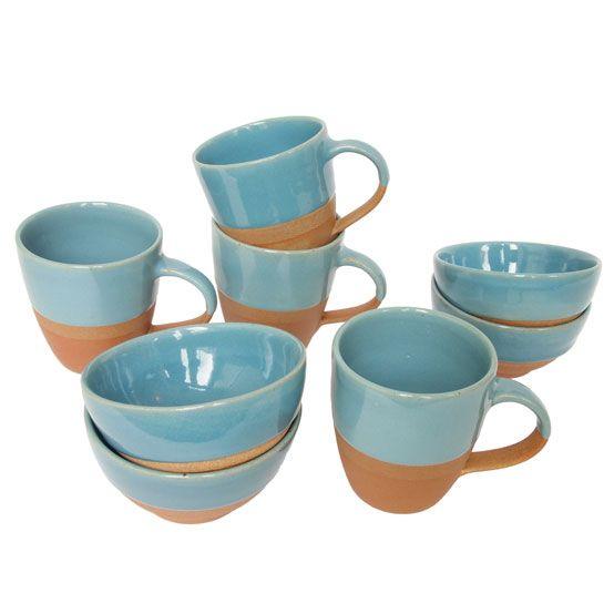 tableware terracotta half glazed blue