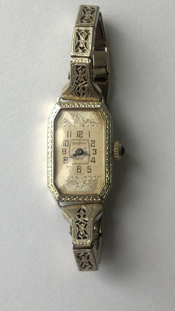 Art Deco SWISS 18K Solid Windsor Ladies Watch with Filigree band SERVICED Look and Shop or Layaway For Christmas