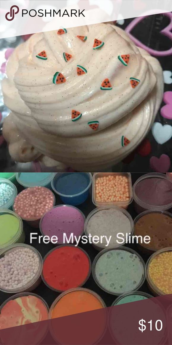 Fluffy Watermelon Slime Fluffy Watermelon & Peach Slime 5 oz each Fluffy soft and Stretchy Includes a free Mystery Slime or Floam, slime actIvator and containers Accessories