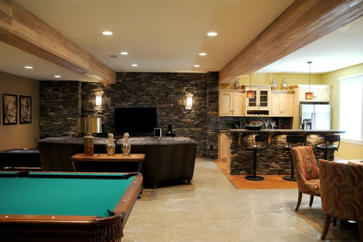 awesome basement mini bar set with stone wall paint color and