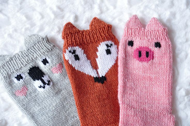 "Ravelry: ""Pawsome Pals"" Koala, Fox, and Pig Animal Socks by Lauren Riker"