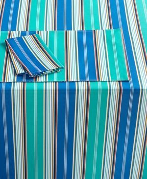 "Bardwil Messina Stripe Blue Collection 60"" x 102"" Oblong Tablecloth - Blue"
