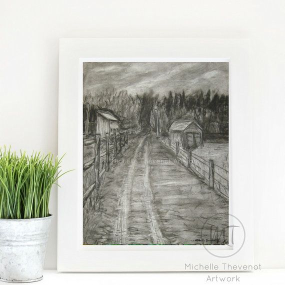 A rustic farm pasture surrounded by a forest of trees. This art print of country scenery was drawn in charcoal on-site near Prince Albert, Saskatchewan, Canada. The original artwork continues to bring joy to our family - now this digital print is available to bring joy to the homes of others!  Perfectly suited for framed art to enhance your rustic farmhouse, vintage, antique, cottage chic, or shabby chic style of home decor. Print at home or at a professional printer. A lovely gift…
