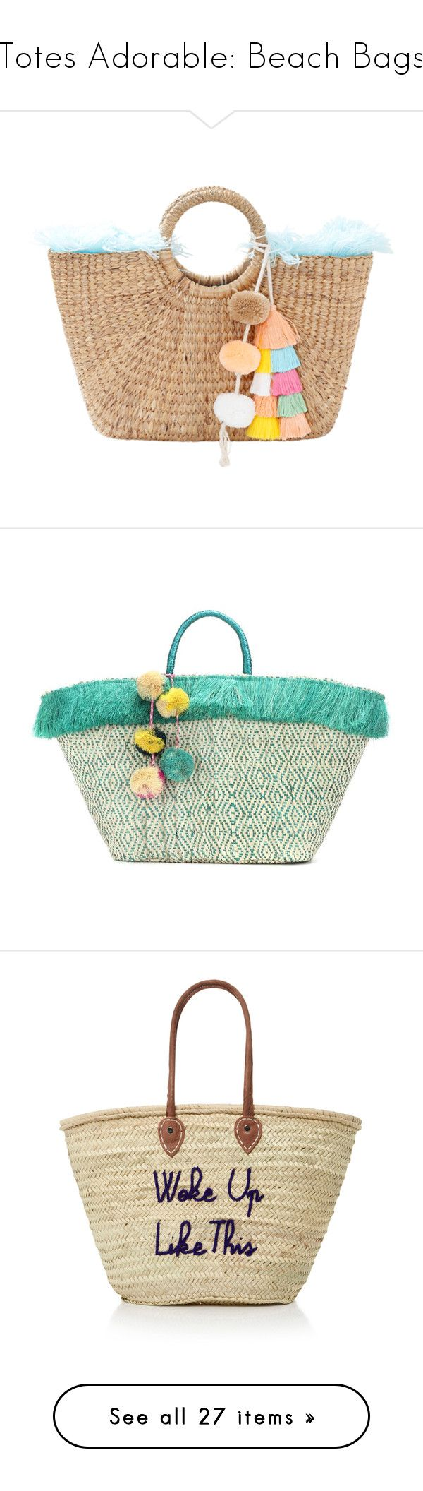 """""""Totes Adorable: Beach Bags"""" by polyvore-editorial ❤ liked on Polyvore featuring BeachBags, bags, handbags, jadetribe bags, straw bags, jadetribe, beige handbags, straw handbags, tote bags and beige"""
