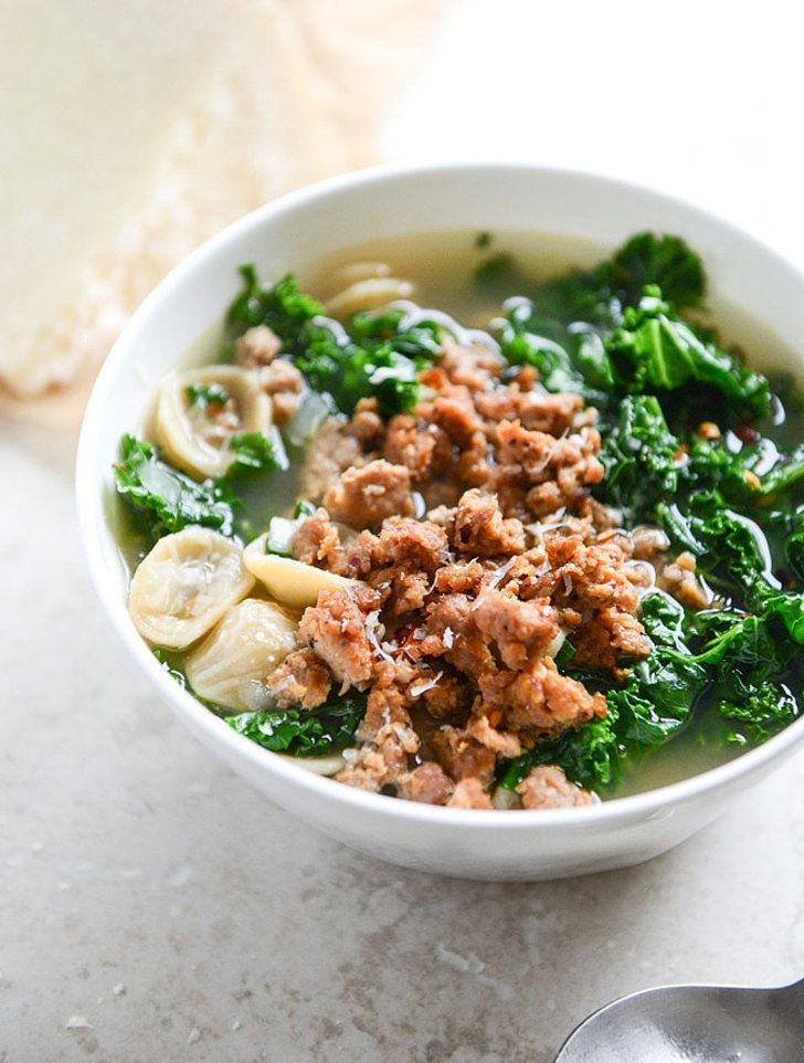 Get the recipe: spicy sausage, kale, and orecchiette soup                  Image Source: How Sweet It Is