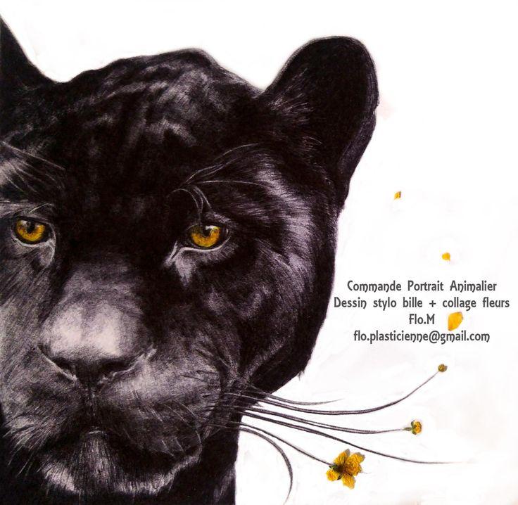 VENDU  Panthère noire au stylo bille/ ballpoint pen 12 x12 cm