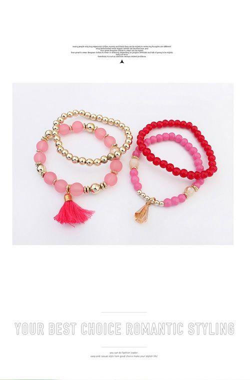 Aliexpress.com: Comprar 4 unids/set bohemia de múltiples capas de imitación mate brazalete de cuentas de turquesa granos cristalinos de la borla elástica pulseras brazaletes para mujeres de pulsera de la jalea fiable proveedores en Forever Beauty Jewelry