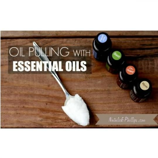Oil Pulling With Coconut Oil and essential oils for teeth and gum health