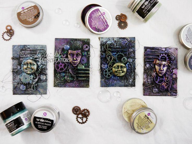 Mixed Media ATC's with Finnabair Acrylic paints and Wax - CinsCreations