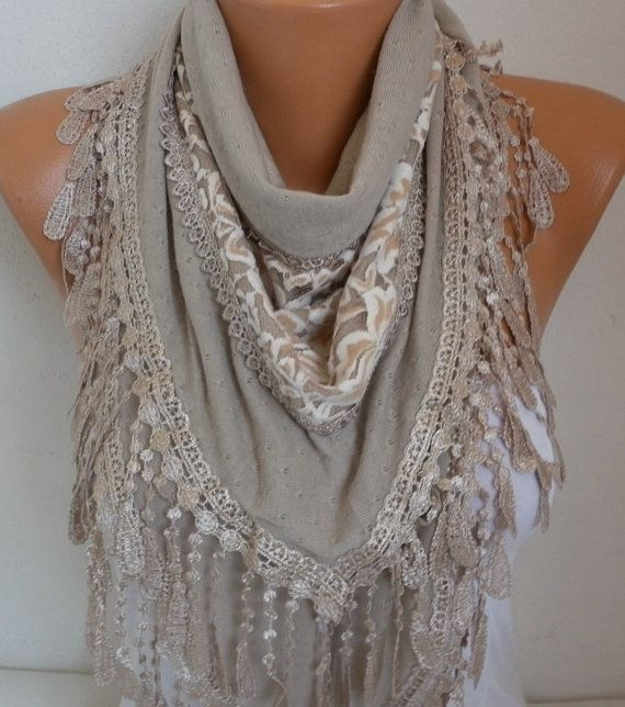 Beige Knitted Scarf Shawl Cowl Lace Oversized by fatwoman on Etsy
