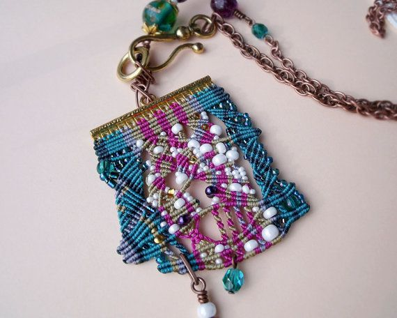 Unique micro macrame necklace pendant Teal by MartaJewelry