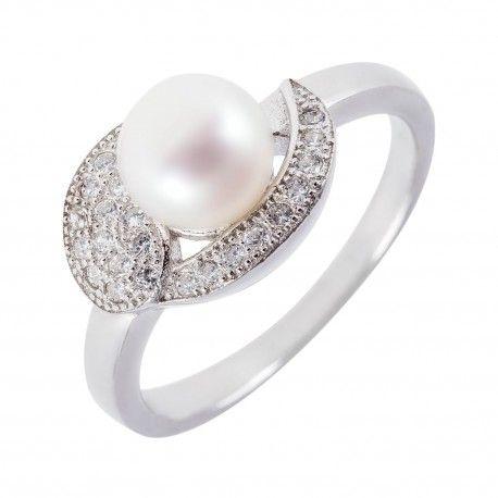 Stříbrný perlový prsten s mikrozirkony