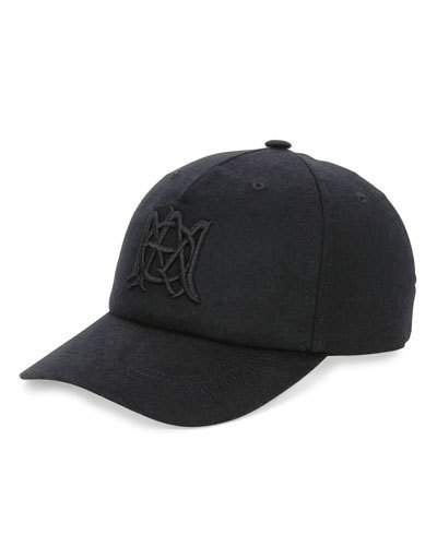 Alexander+Mcqueen+Wool+Cashmere+Baseball+Hat+with+Insignia+Black+ +Headwear+and+Accessory