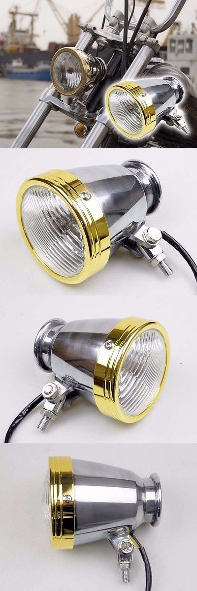 motorcycle parts: 4 Motorcycle Polish Brass Chrome Headlight For Harley Dyna Softail Chopper BUY IT NOW ONLY: $33.95
