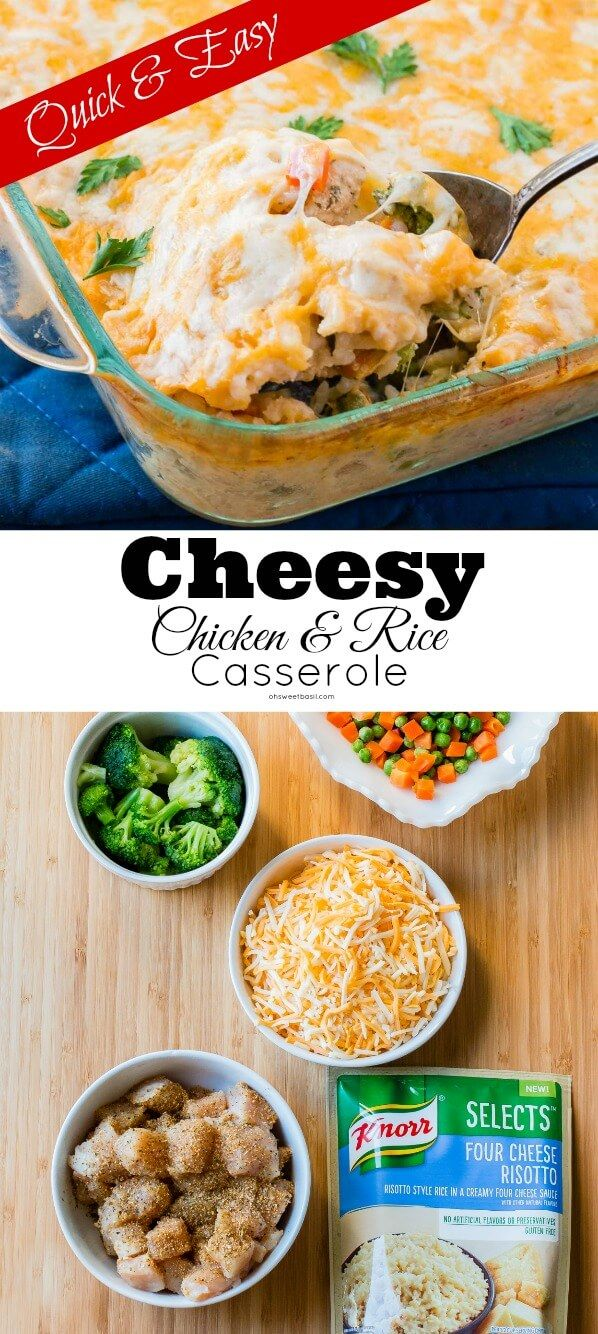 I'm always looking for a quick and easy dinner idea and this cheesy four cheese chicken and rice casserole seems to always end up in our weekly meal planning. Made with new @Knorr Selects, this recipe is full of rice, chicken and veggies and topped off with gooey cheese. It's a crowd pleaser for Moms, Dads and kids! #KnorrSelectsPartner via @ohsweetbasil
