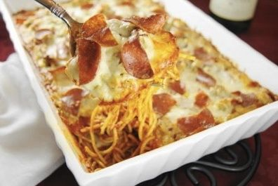 Ingredientes 1 pacote de espaguete 1 colher de sal 2 ou 3 linguiças calabresas Algumas fatias de salame bem...