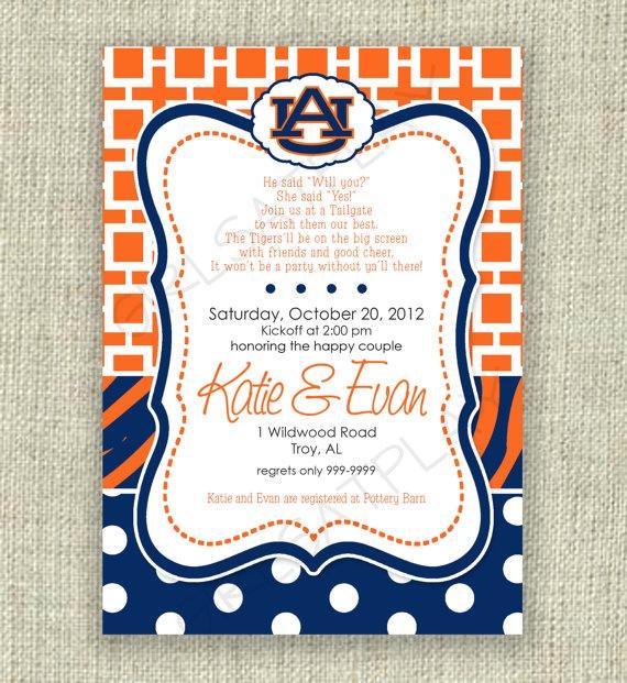 Bridal Shower Football Invitation Auburn Tailgate by ...