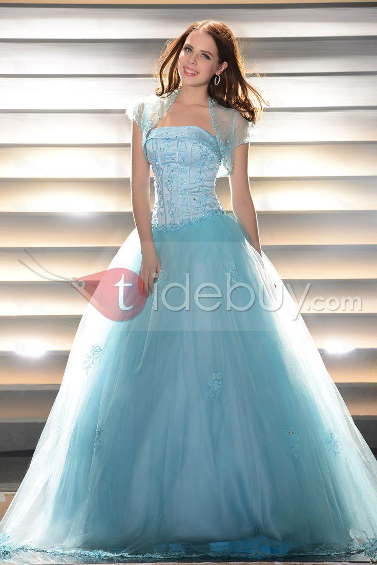 ファンシーボールガウン床長さストラップレスドレス