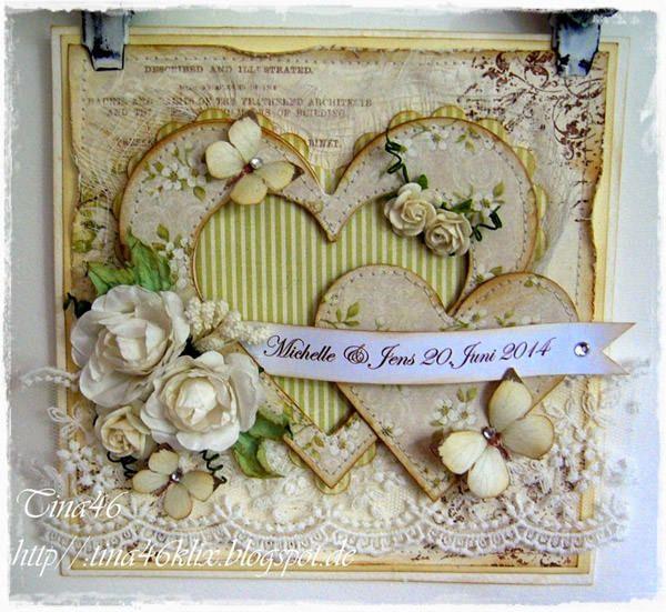 Triple Heart Wedding Card (Live & Love Crafts' Inspiration and Challenge Blog)