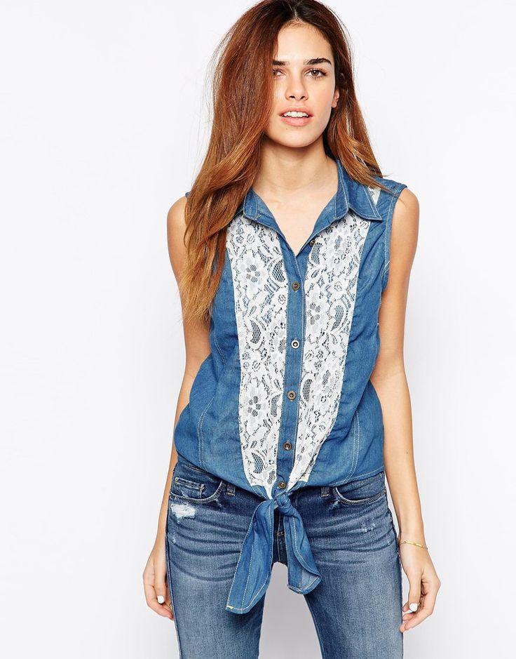 Image 1 ofJasmine Sleeveless Denim Shirt with Lace Panel