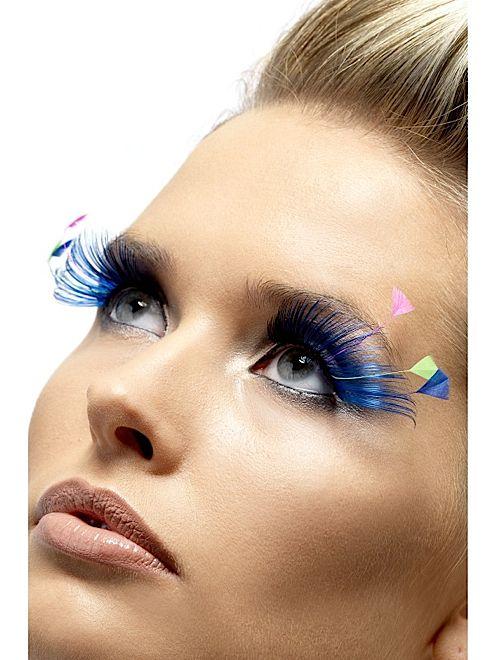 Fake Eyelashes | Blue and Neon Feather Fake Eyelashes Image Unavailable