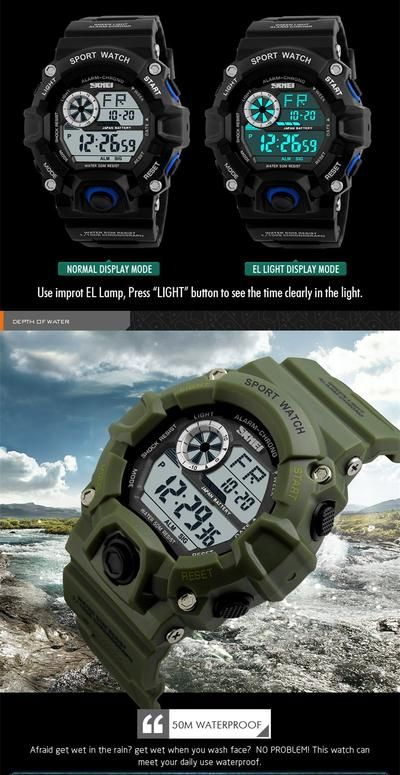 S SHOCK Men Sports Watches SKMEI Luxury Brand Camouflage