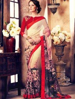 Casual Wear Beige Georgette Printed saree
