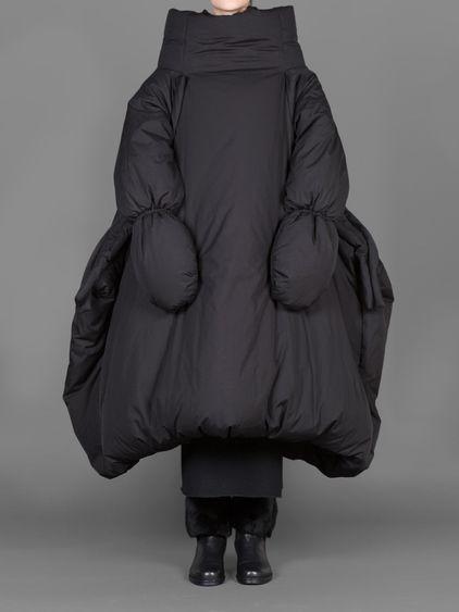 Sculptural Fashion - black oversized coat with soft padded volume // Yohji Yamamoto