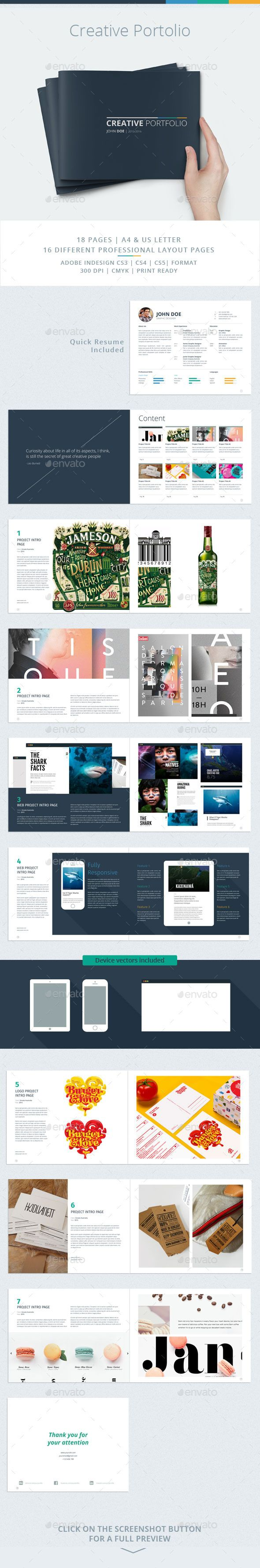 Creative Portfolio is a 18 pages Indesign brochure template available in both A4 and US letter sizes. This template is for use as a portfolio / book / extended resume / agency or studio brochure. Download: http://graphicriver.net/item/creative-portfolio/11001973?ref=ksioks