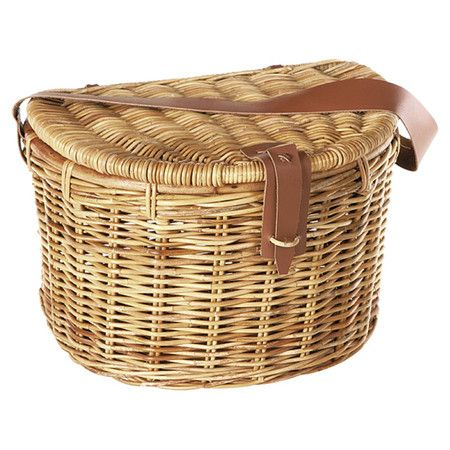 Enjoy an alfresco lunch at the orchard or wine and cheese in the park with this lovely rattan picnic basket, showcasing a demilune silhouette and leather str...