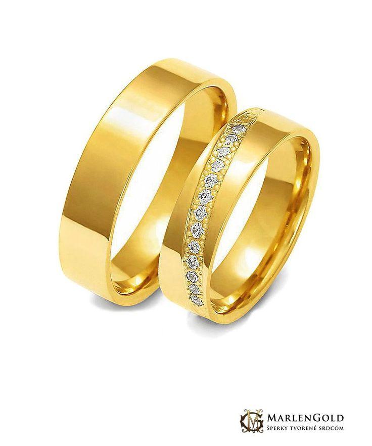 Svadobné obrúčky jednofarebné zo žltého zlata. Uvedená cena je za 1 pár obrúčok. Model je dostupný v showroome v Stupave.