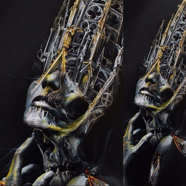 Morph painting by Tony Mancia TonyMancia morph realistic painting art cathedral architecture portrait skull