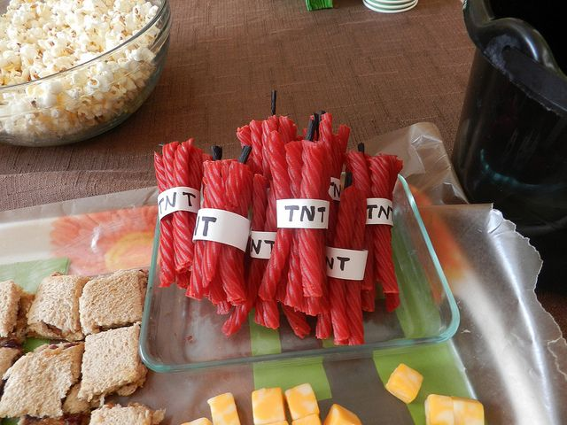 Red licorice 'TNT' - Minecraft party treat
