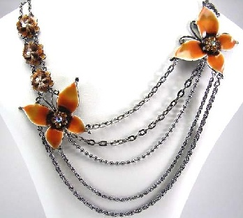 Pewter Toned Draping Chain Necklace