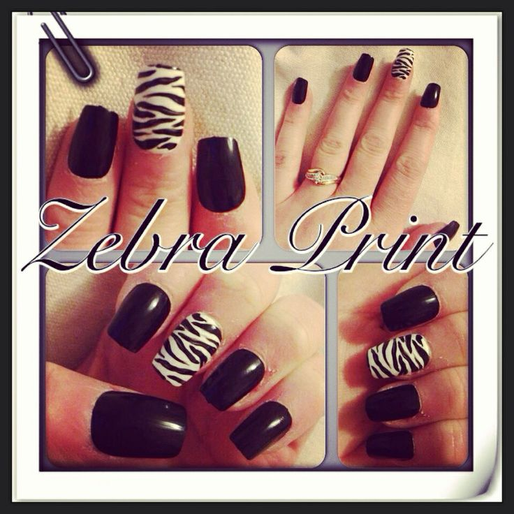 "Zebra Print"" nail art Freehand using acrylic paint"