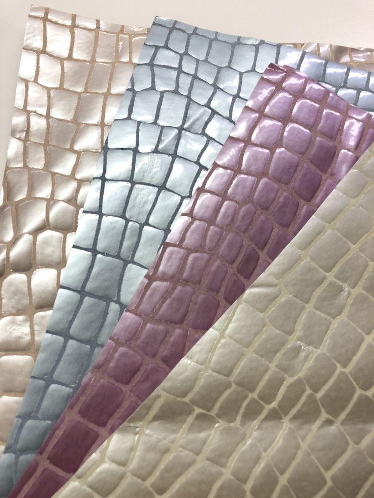 """Frühling perlmuttfarbenes Leder Krokodil-Look Champagner, Baby Blue, Pink, Pfirsich Soft Crafting Sheets Größe 10 """"x 10"""""""