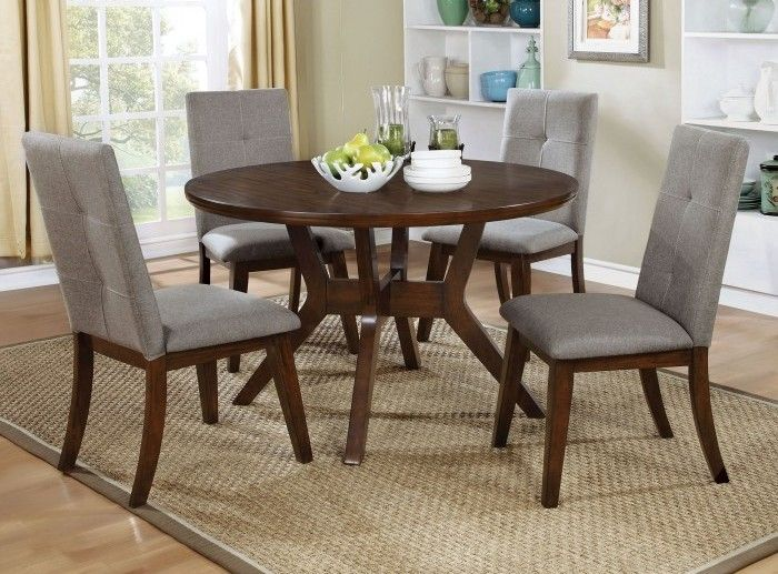 Buy The Furniture Of America Walnut Round Dining Table Set Featuring A 48 Inch And Four Fabric Chairs