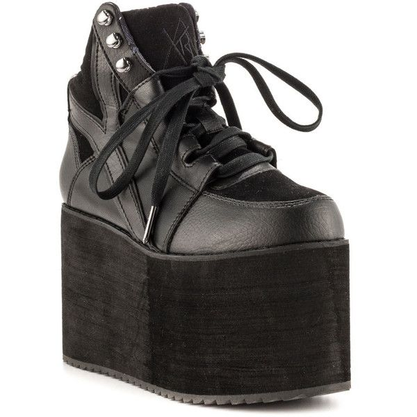 YRU Women's Qozmo Hi - Black ($86) ❤ liked on Polyvore featuring shoes, sneakers, platform, trendy, wedges, women, high wedge sneakers, black wedge sneakers, wedge heel sneakers and wedge trainers