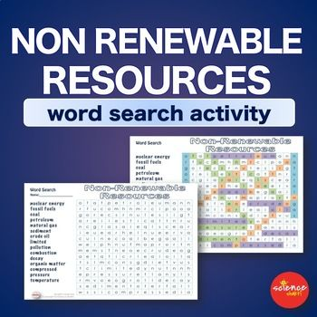 Science Non Renewable Resources: This word search on Non Renewable Resources helps students familiarize and reinforce vocabulary terms and spelling in a fun way. Answer sheet is enclosed. It can be used before a unit, during a unit at a warm-up, exit or