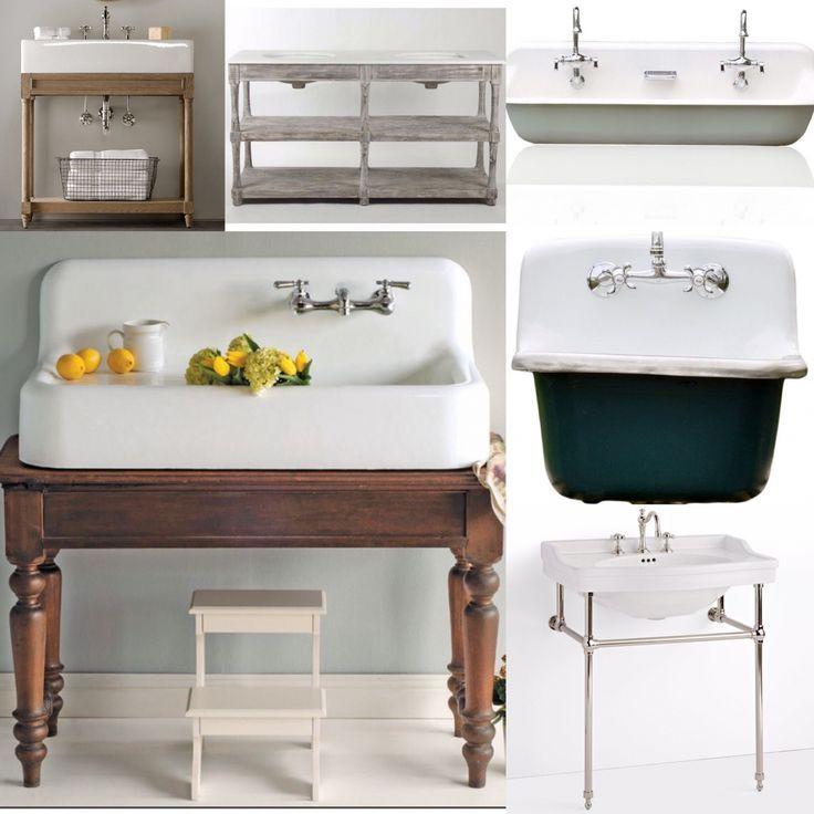 Wenn Sie ein Bauernhaus bauen oder ein Badezimmer umgestalten möchten, finden Sie hier einige fantastische Waschhausoptionen für Bauernhäuser! Schaffen Sie einen einzigartigen Look, indem Sie einen antiken Tisch in einen Waschtisch für ein Bauernhaus umrüsten! Ich liebe diesen Waschtisch! Vintage inspirierte Herrlichkeit! Die absolut beste Doppelspüle, die ich je gesehen habe! Die perfekte Kombination von rustikal und chic! Saubere, klassische Perfektion! Ich bin einfach verrückt nach Senken! V