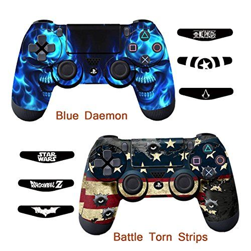 Skins for PS4 Controller  Decals for Playstation 4 Games  Stickers Cover for PS4 Slim Sony Play Station Four Controllers Pro PS4 Accessories PS4 Remote Wireless Dualshock 4  Flag Daemon 6 Light Bar ** Want additional info? Click on the image.