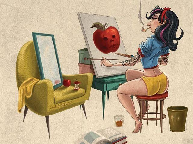 Aquí la vemos a Blancanieves muy ruda, fumando y pintando lo que parece una manzana maligna. ¡Pero miren esos tatuajes! Vemos un 7 en su brazo ¿será por los enanitos?