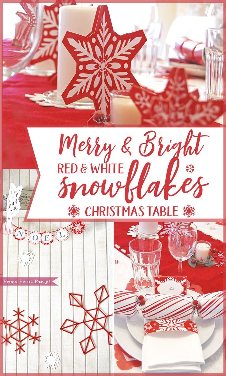 Merry Bright Red White Snowflakes Christmas Table Press Print Party Christmas Party Inspiration Christmas Party Themes Christmas Place Cards