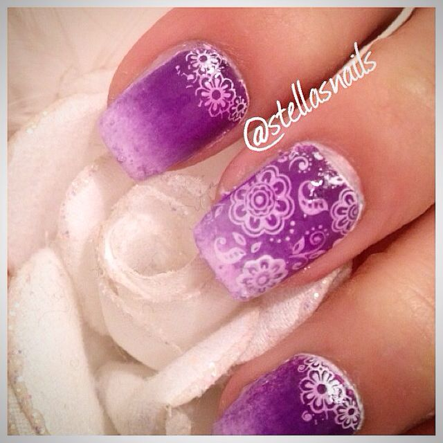 Did my nails, purple ombre with white pattern