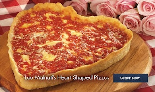 But when I heard that Lou Malnati's Pizza of Chicago (locations in Evanston) had heart-shaped pizzas for sale, I got a warm feeling inside (mostly from my stomach, but still) and that gave me hope for the most-hated holiday, Valentine's Day.