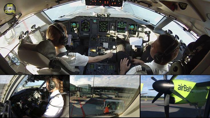 Captain Marina starring Air Baltic Q400 ULTIMATE COCKPIT MOVIE [AirClips...