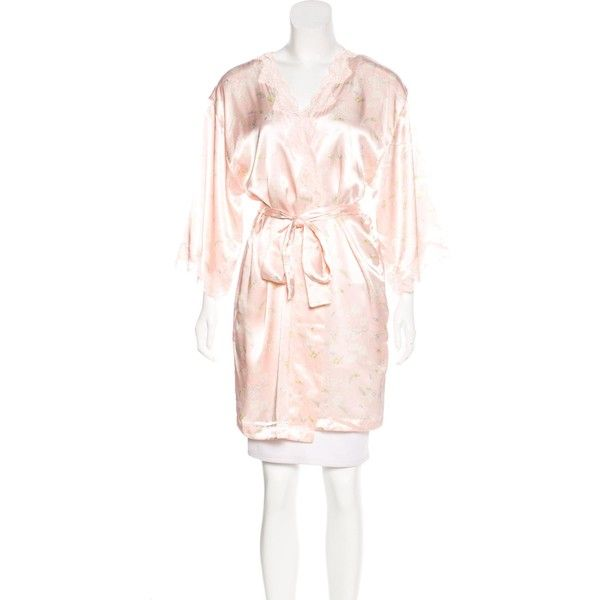 Pre-owned Valentino Floral Print Lace-Trimmed Robe ($175) found on Polyvore featuring women's fashion, intimates, robes, pink, dressing gown, bath robes, patterned robes, lace trim robe and floral print robe