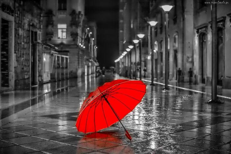 Ulica, Kamienice, Parasol, Deszcz