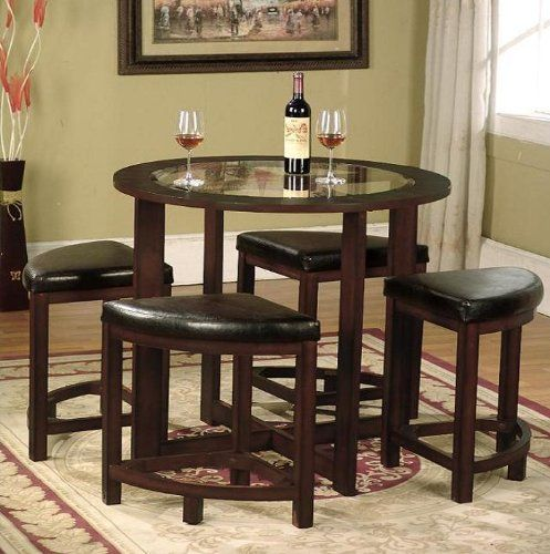 Roundhill-Furniture-Cylina-Solid-Wood-Glass-Top-Round-Dining-Table-with-4-Chairs-0