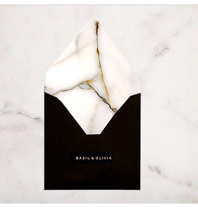 Textual marble invites - striking & elegant